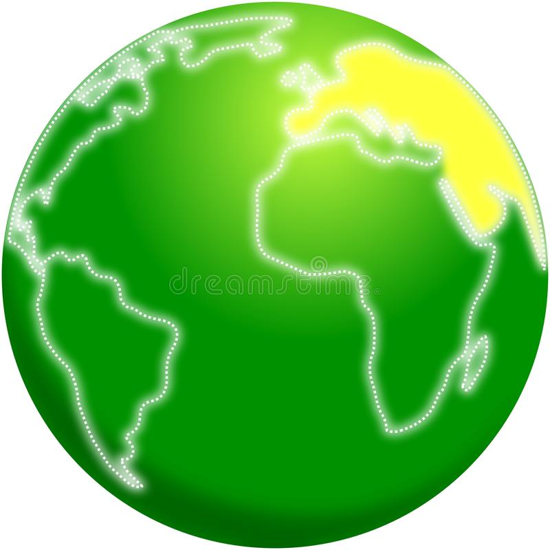 Stylized planet Earth with Europe highlighted stock illustration