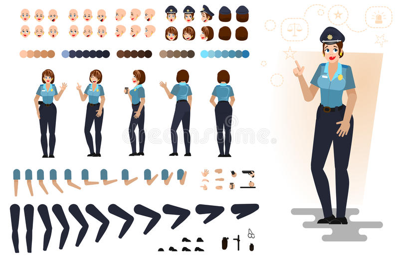 Stylized police girl, flat vector illustration. royalty free stock images