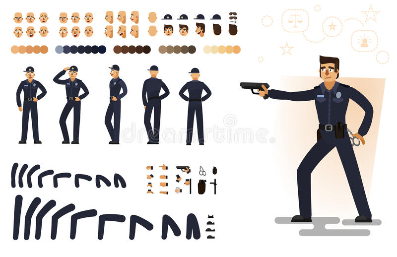Stylized policeman, flat vector illustration. Set of different elements, emotions, gestures, body parts for character animation stock illustration