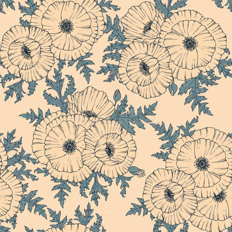 Stylized poppy flower royalty free illustration