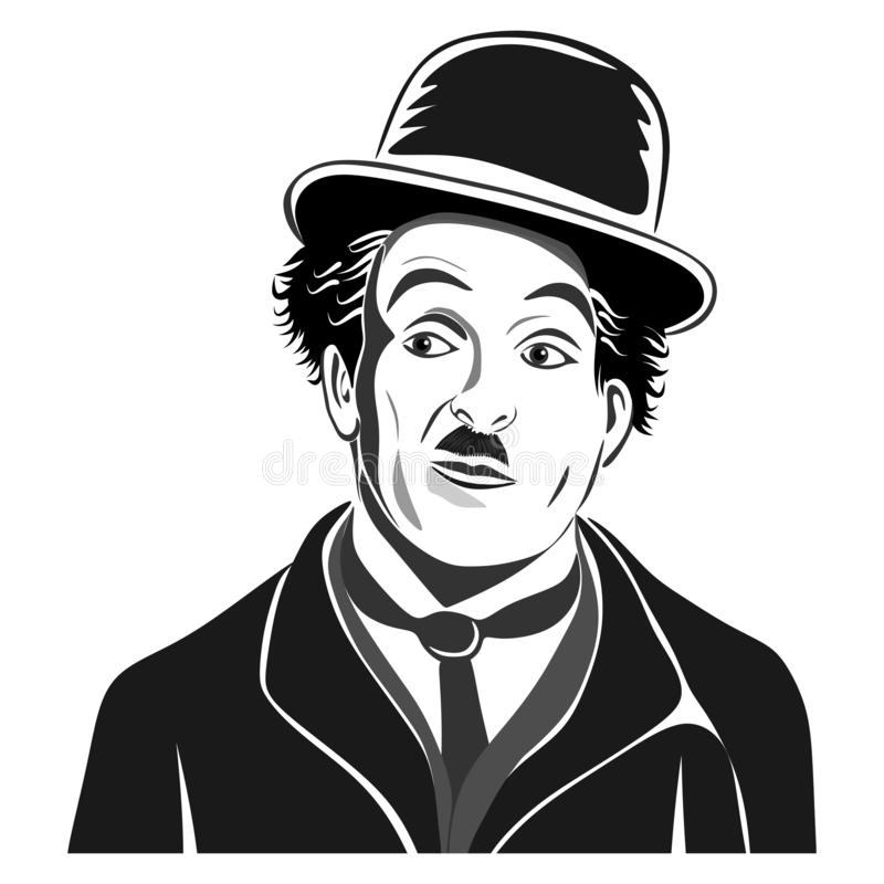 Stylized portrait of actor Charlie Chaplin.Isolated on white background. royalty free illustration