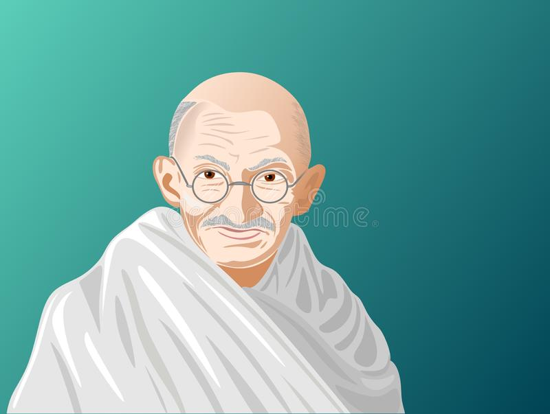 Stylized portrait of Mahatma Gandhi, a character linked to the independent movement of India, with an apology for nonviolence and royalty free illustration