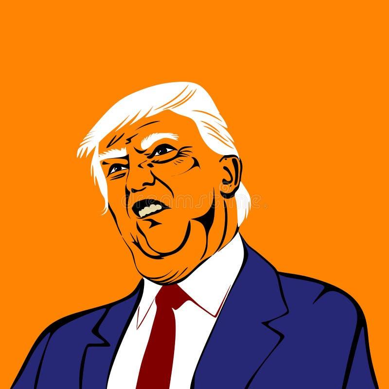 Stylized portrait of the President of the United States of America, Donald Trump. Illustration.Cartoon stock illustration