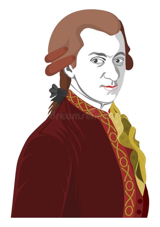 Stylized portrait of Wolfgang Amadeus Mozart. royalty free illustration