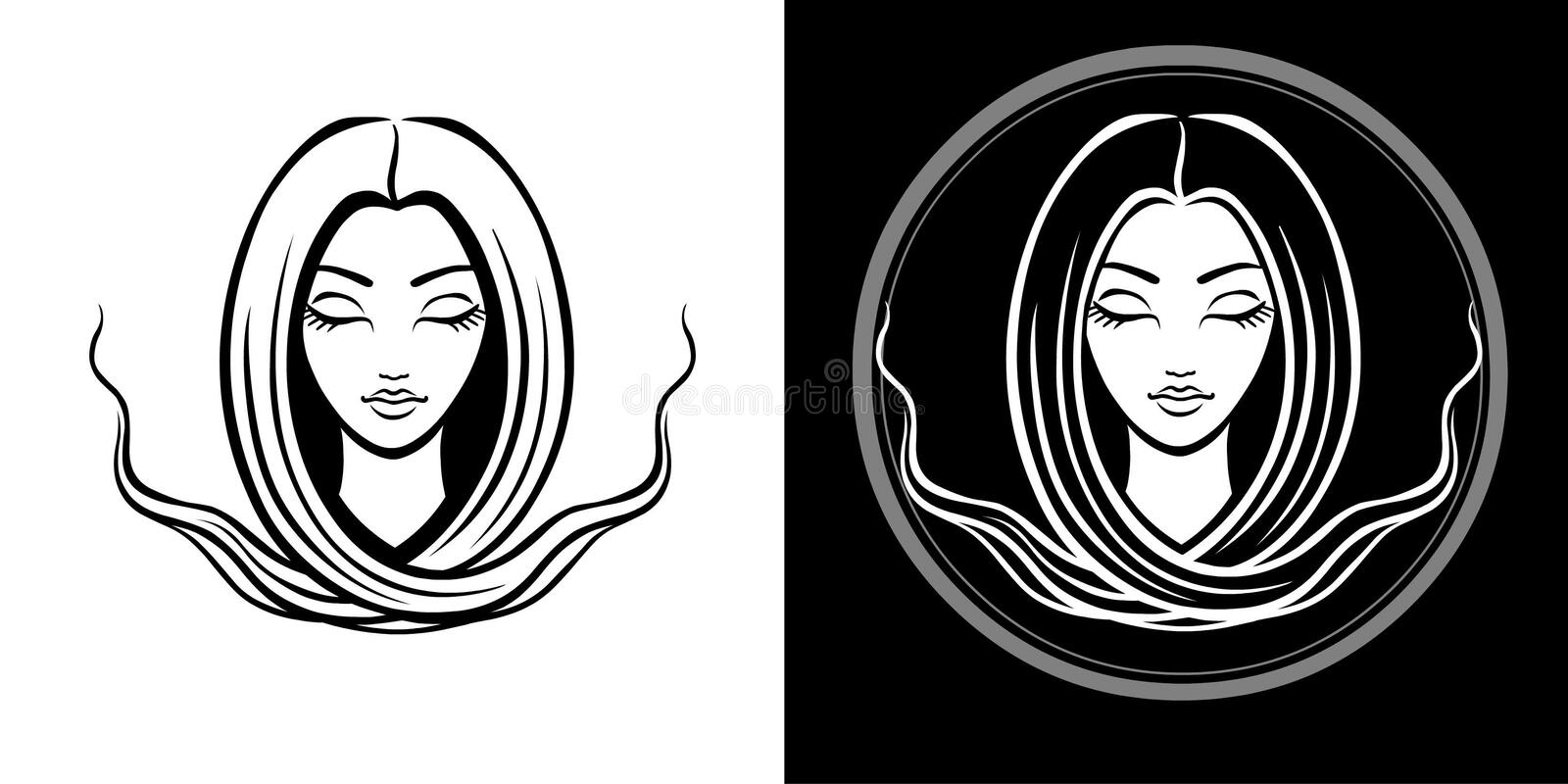 The stylized portrait of the young beautiful girl with long hair. The linear isolated drawing. vector illustration