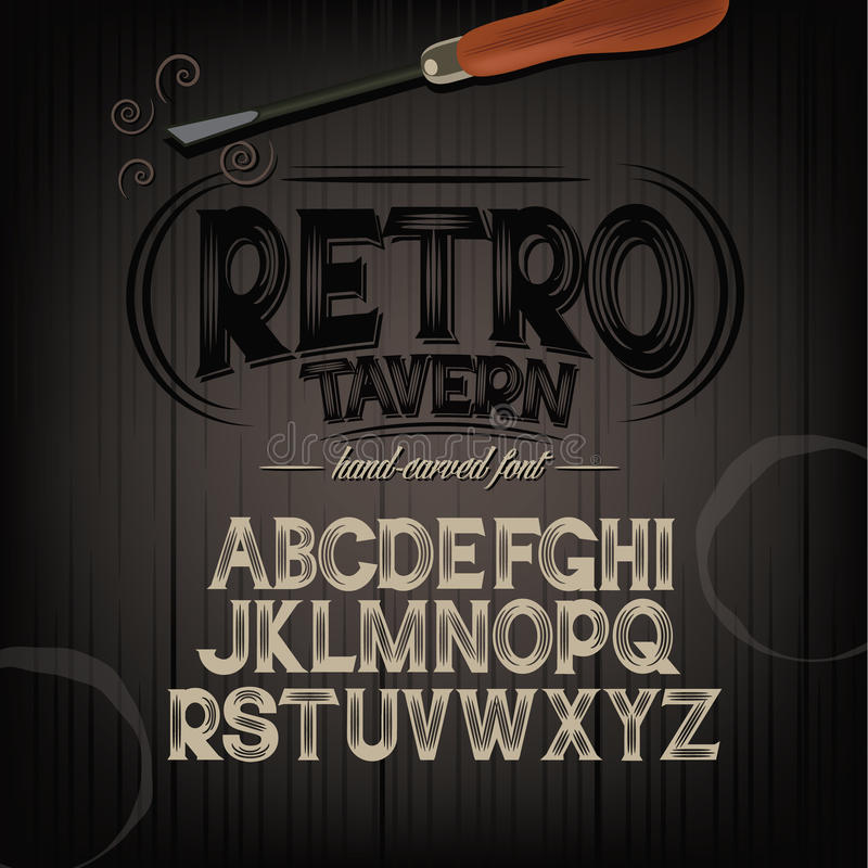 Stylized pub tavern bar carved hand drawn font. Alphabet. Perfect for label design. Carvings are knocked out of letters and lets background show through. EPS 10 vector illustration