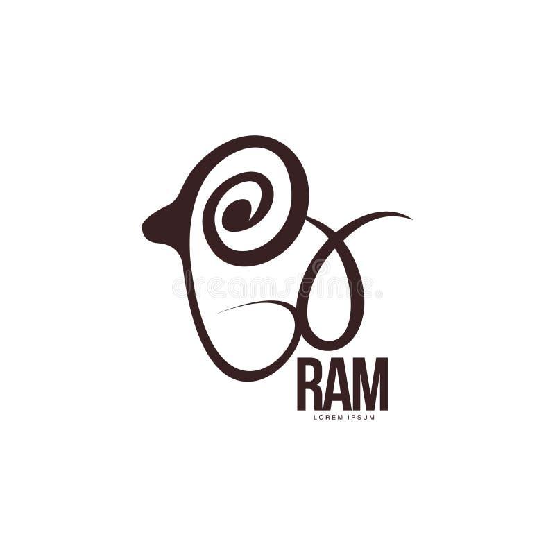 Stylized ram, sheep, lamb outline graphic logo template stock illustration
