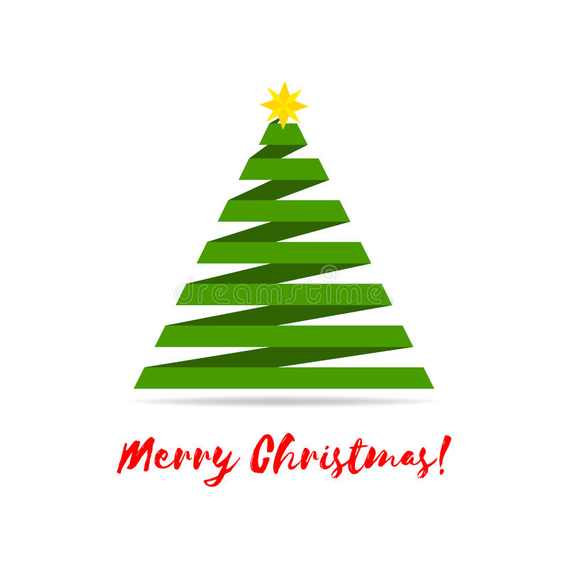 Stylized ribbon Christmas tree with yellow star and greetings. Vector illustration. Isolated on white vector illustration