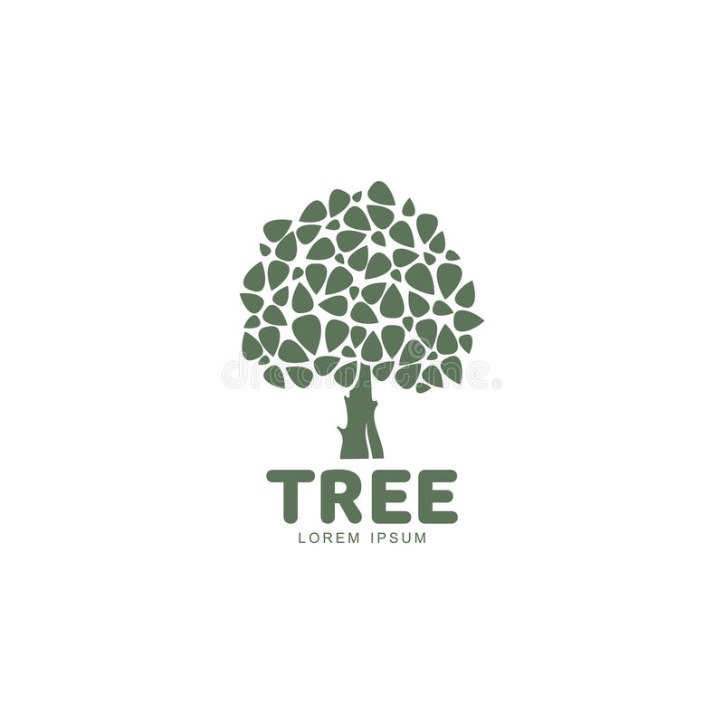 Stylized round shaped green oak tree logo template, vector illustration. Isolated on white background. Oak tree logotype template with round foliage and big stock illustration