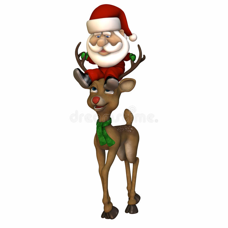 Stylized Santa Riding a Reindeer. Stylized Santa riding on a reindeer's head. Pygmy Santa. Isolated on a white background royalty free illustration