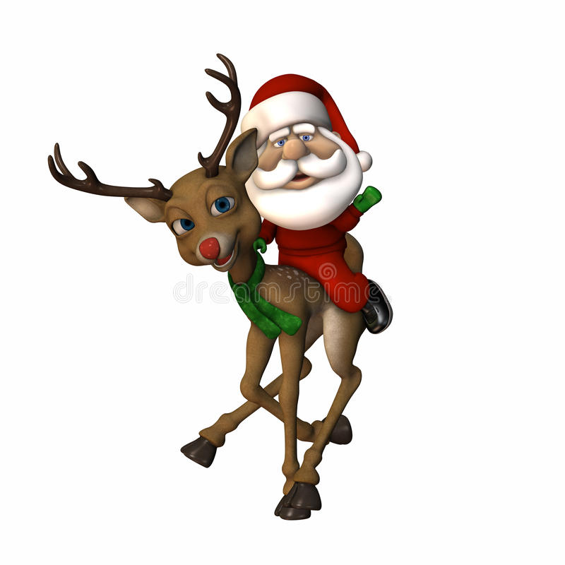 Stylized Santa Riding a Reindeer. And waving. Pygmy Santa. Isolated on a white background royalty free illustration