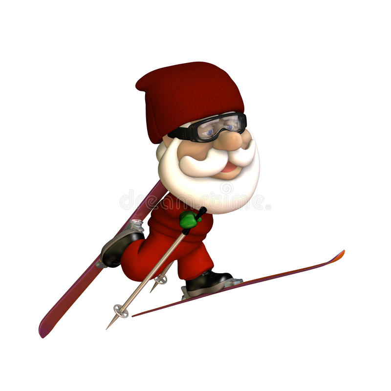 Stylized Santa Skiing stock illustration