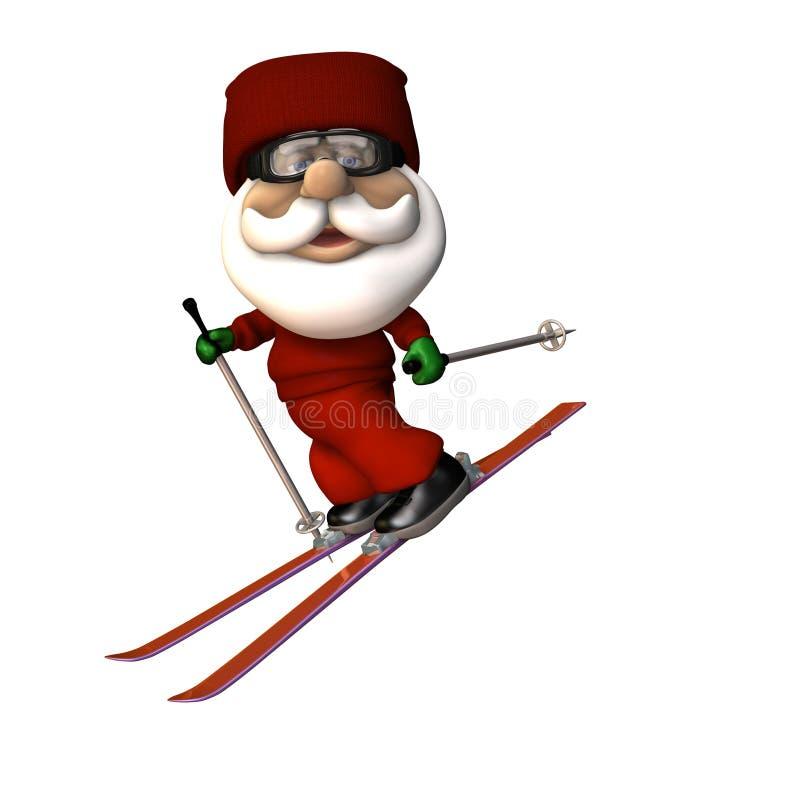 Stylized Santa Skiing vector illustration