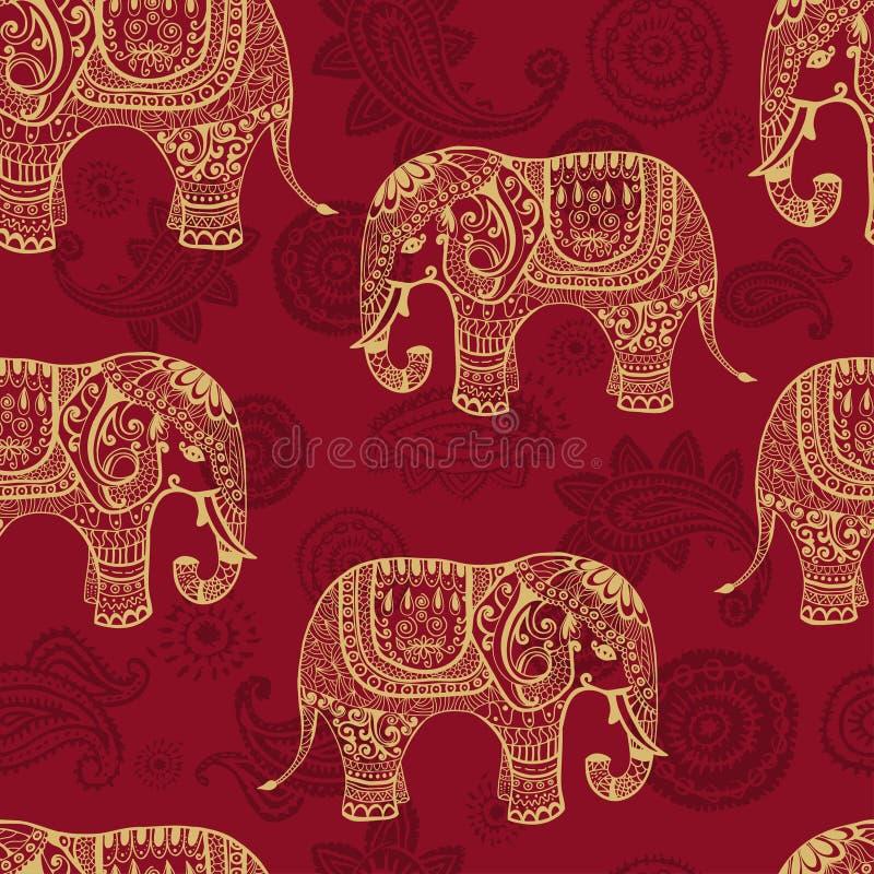 Stylized seamless modell för elefants stock illustrationer