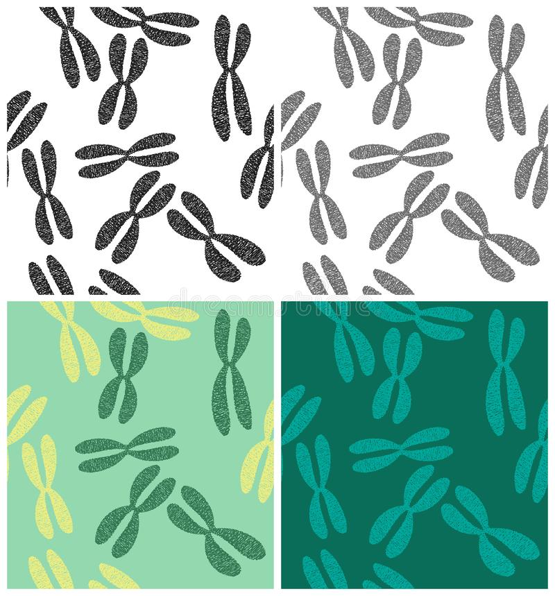 Chromosomes patterns mini Set. Stylized set of vector chromosome patterns in different colors and Seamless in all directions if needed royalty free illustration