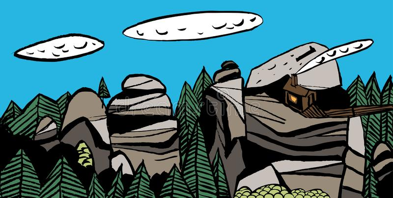 Stylized Siberian landscapes. Reserve `Krasnoyarsk Pillars`, `Hut Griffins`. stock illustration