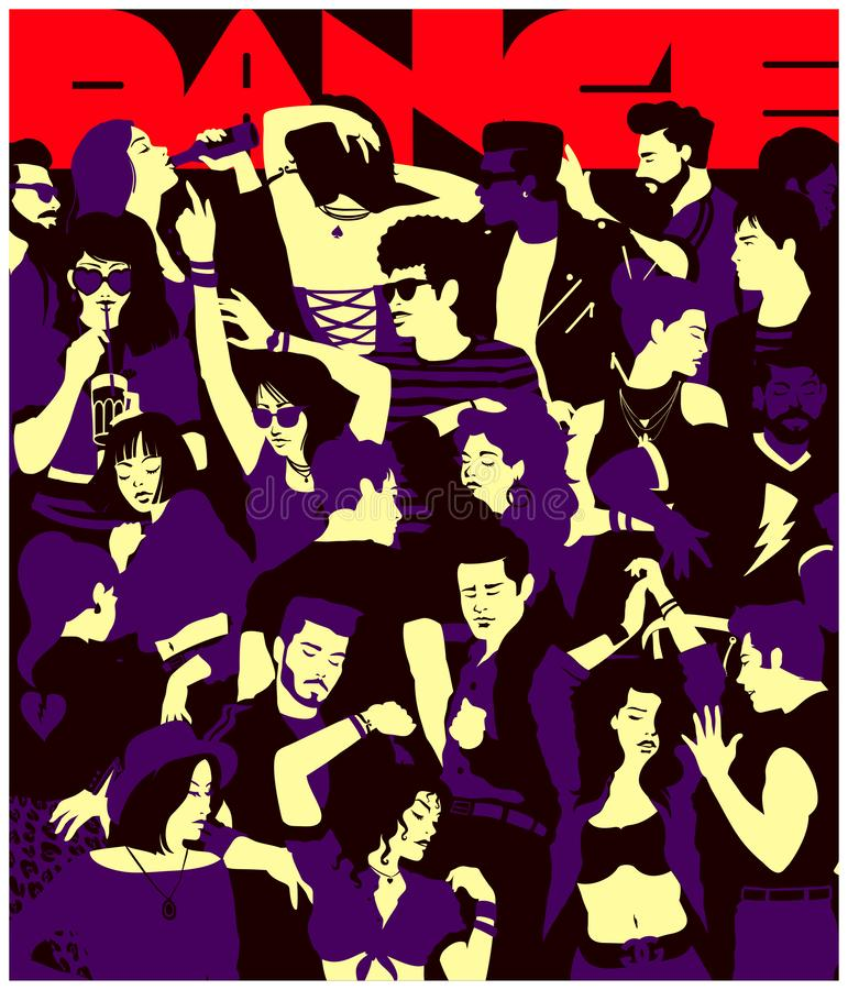 Stylized silhouette of crowd of people dancing at party in a club group of young adults minimal flat design vector illustration. Stylized silhouette of crowd of stock illustration