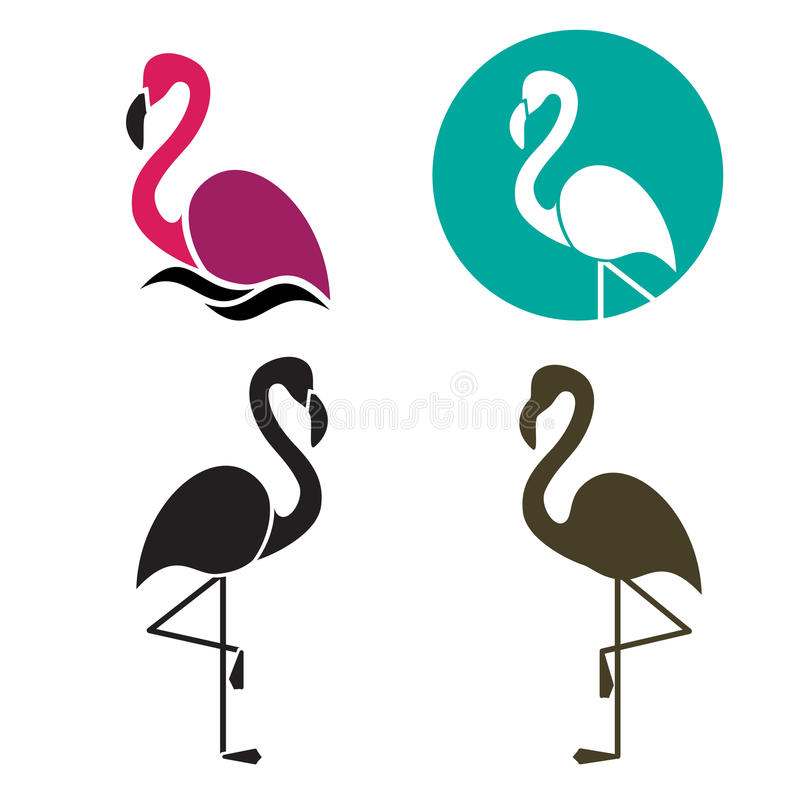 Stylized silhouette of a Flamingo vector illustration