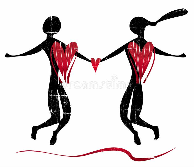 Stylized silhouette of lovers stock photography
