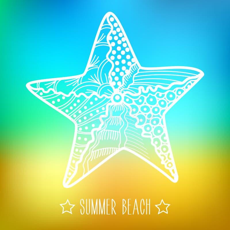 Stylized silhouette sea star, starfish on blurry background. Summer beach royalty free illustration