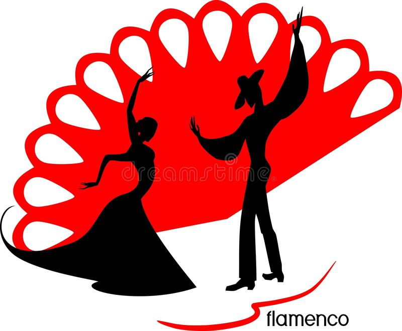 Stylized silhouettes of female and male flamenco dancers. On red fan background vector illustration