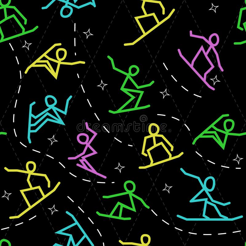 Stylized silhouettes of snowboarders jump and do tricks, seamless background vector illustration