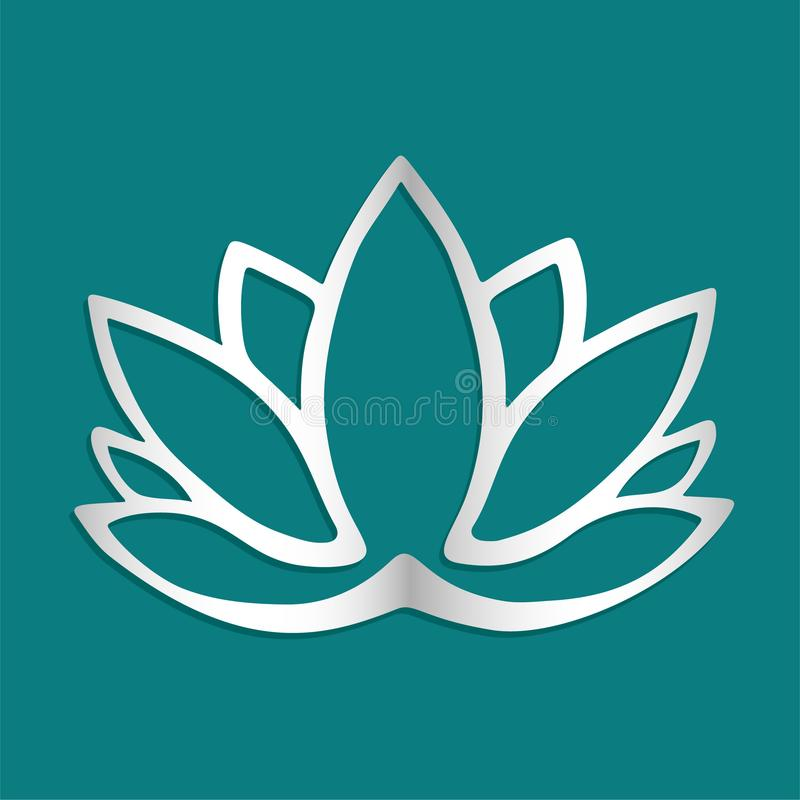 Stylized silver lotus flower logo on blue background Hand drawn fantasy design for tattoo, fabric cloth, poster print. Yoga studio stock illustration