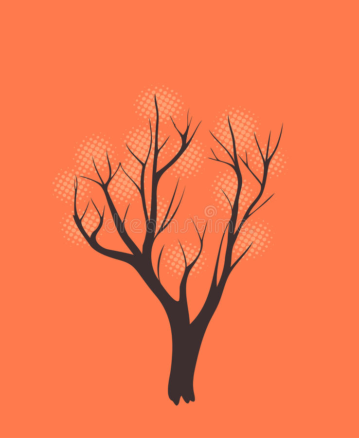 Stylized single tree. Silhouette on color textured background stock illustration