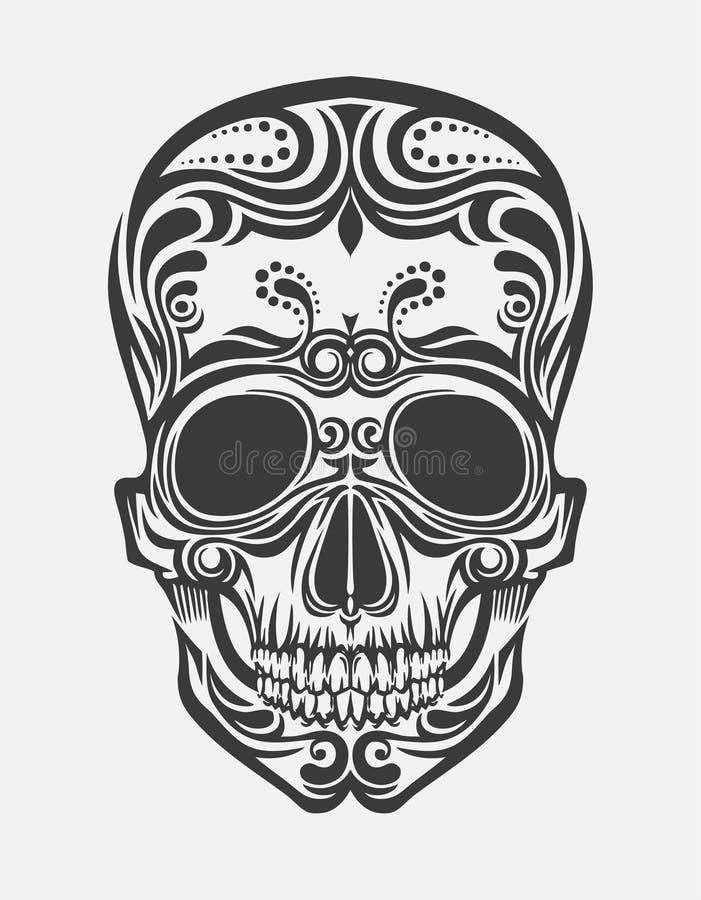 A stylized skull. A drawing of a stylized skull