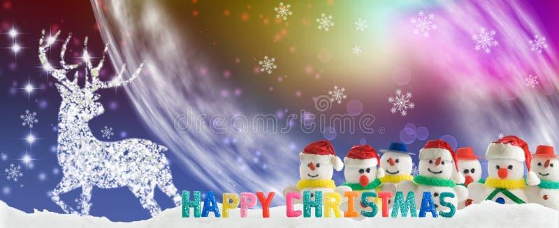 Stylized snowmen on the background of Christmas decorations stock illustration