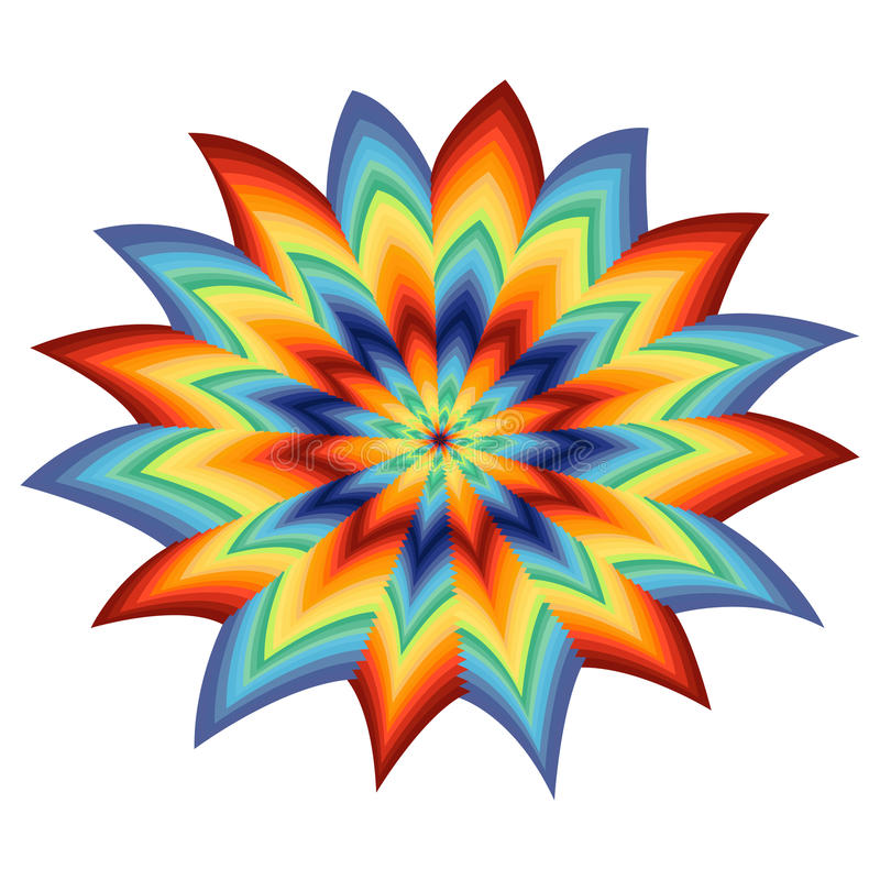 Stylized spectrum flower over white. Stylized spectrum color flower isolated on the white background, vector artwork stock illustration