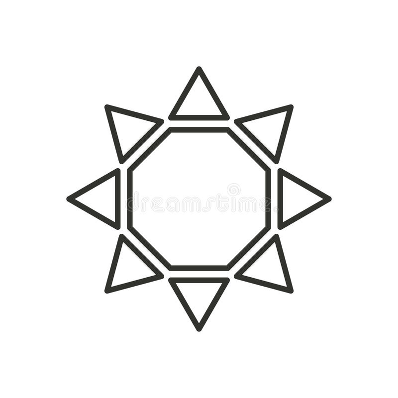 Stylized sun logo. Line icon of sun, flower. Isolated black outline logo on white background. royalty free illustration