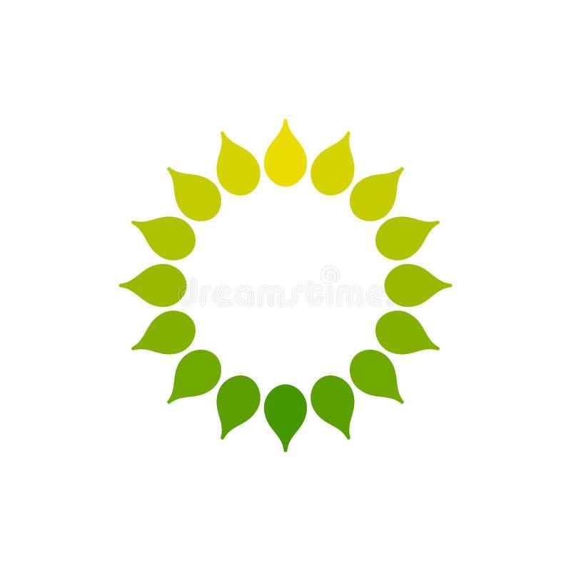 Stylized sun logo. Round icon of sun, flower. Isolated yellow green logo on white background. Frame. stock illustration
