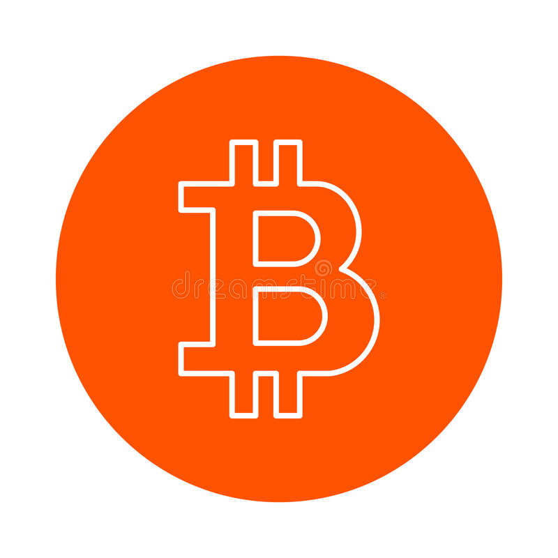 Stylized symbol of crypto currency bitcoin, monochrome round icon, flat style. Symbol of crypto currency bitcoin, monochrome round icon, flat style stock illustration