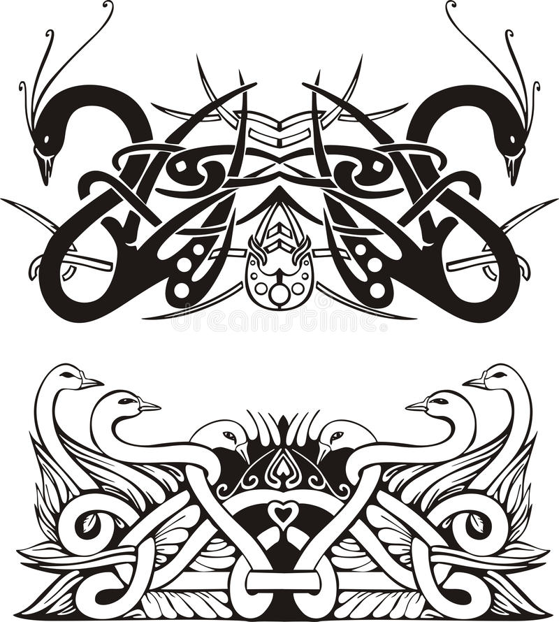 Download Stylized Symmetric Knot Vignettes With Birds Stock Vector - Illustration: 28651846
