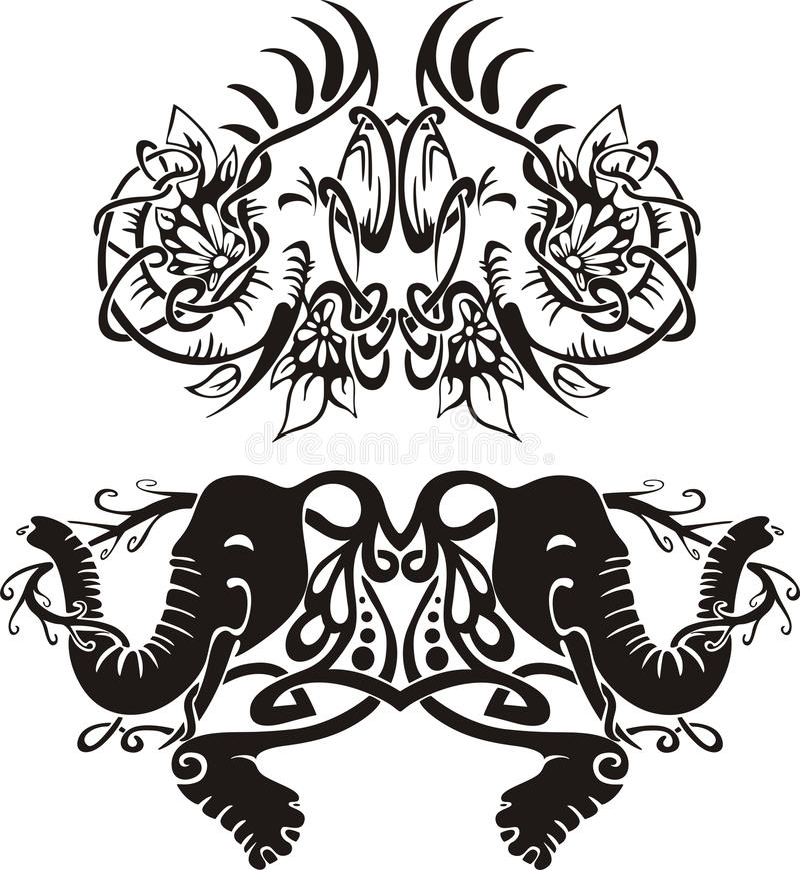 Stylized Symmetric Vignettes With Elephants Royalty Free Stock Images