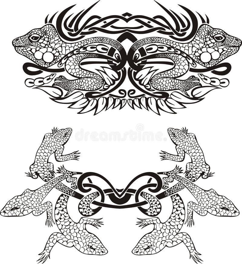 Stylized symmetrisk karaktärsteckning med ödlor stock illustrationer