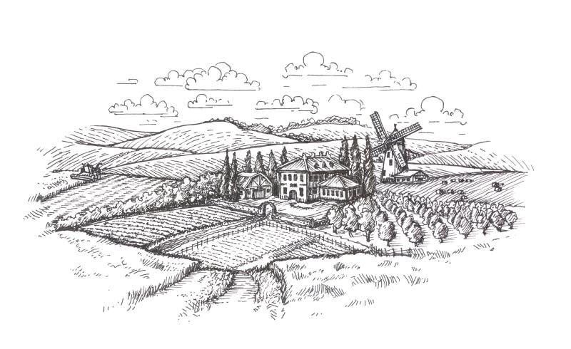 stylized tappning för liggande gammala foto Lantgården, jordbruk eller vetefältet skissar royaltyfri illustrationer