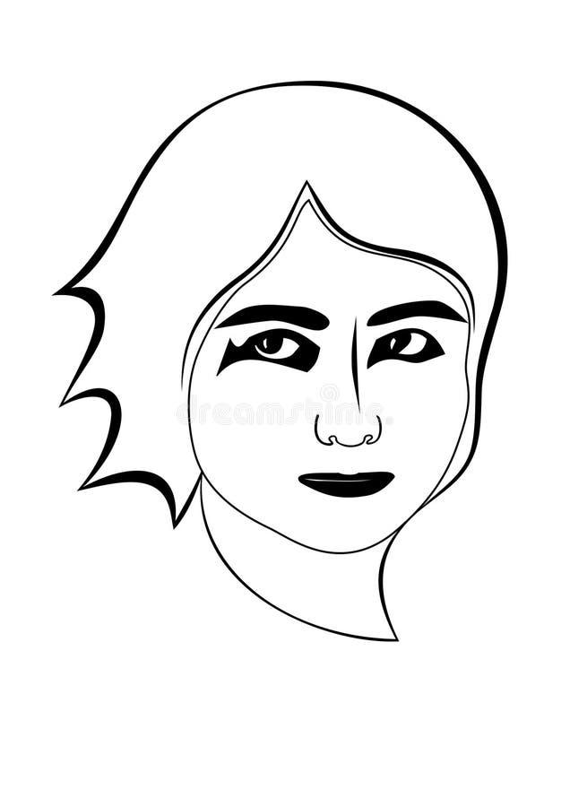 Stylized teen girl. Lineart. stock image