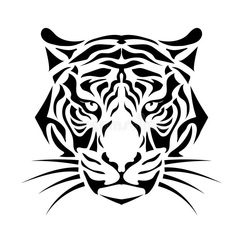 Stylized tiger muzzle. Isolated muzzle the tiger. Black and white vector illustration