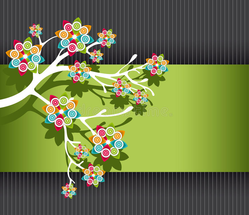 Stylized Tree with Colorful Blossoms stock image