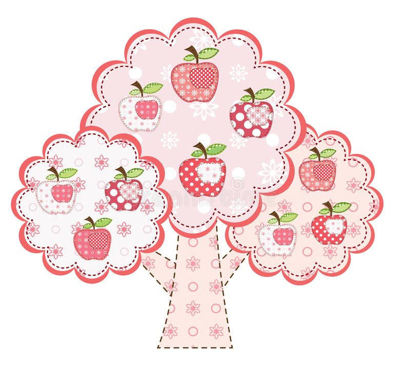 stylized tree för äpple pink vektor illustrationer