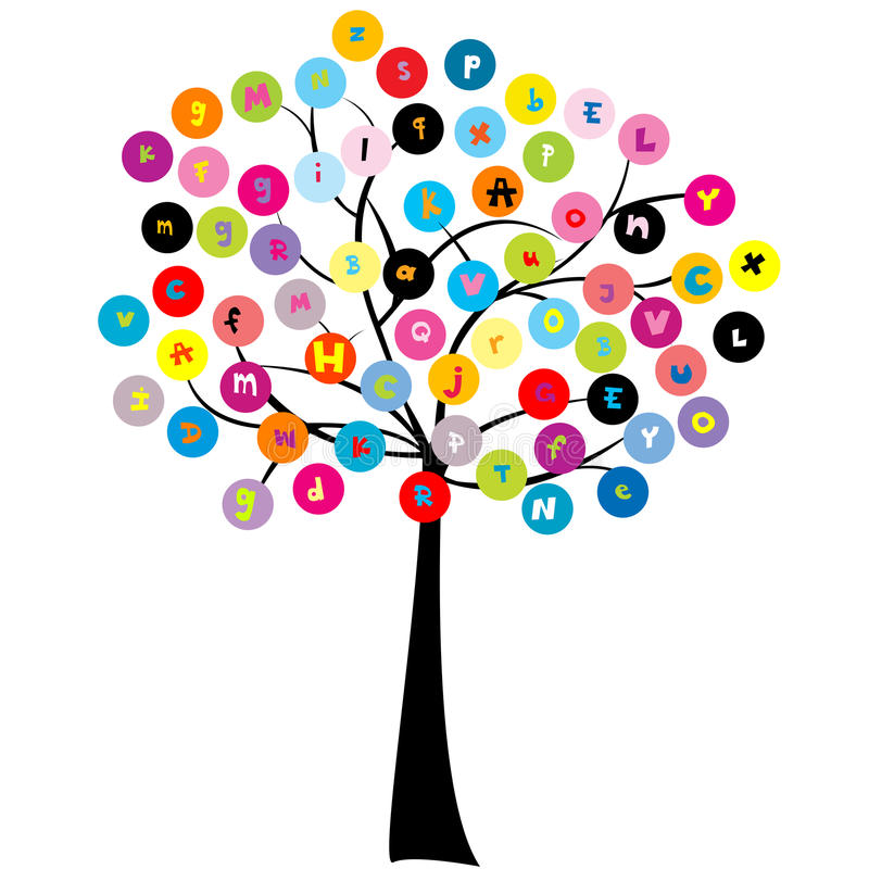 Stylized tree with letters of alphabet vector illustration