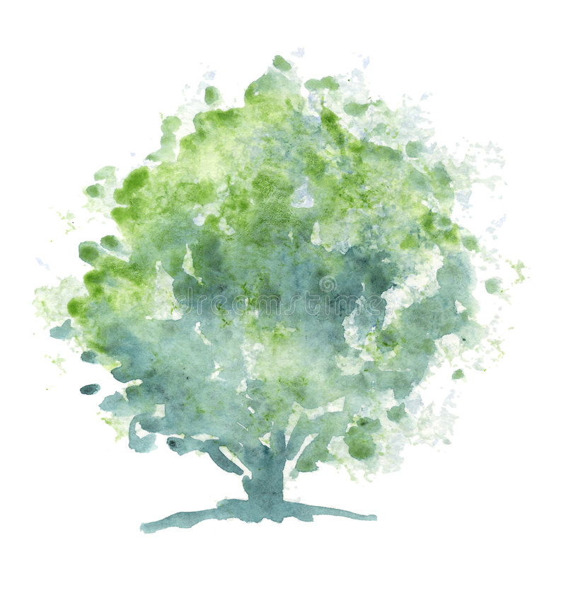 Stylized tree - Watercolor royalty free stock images