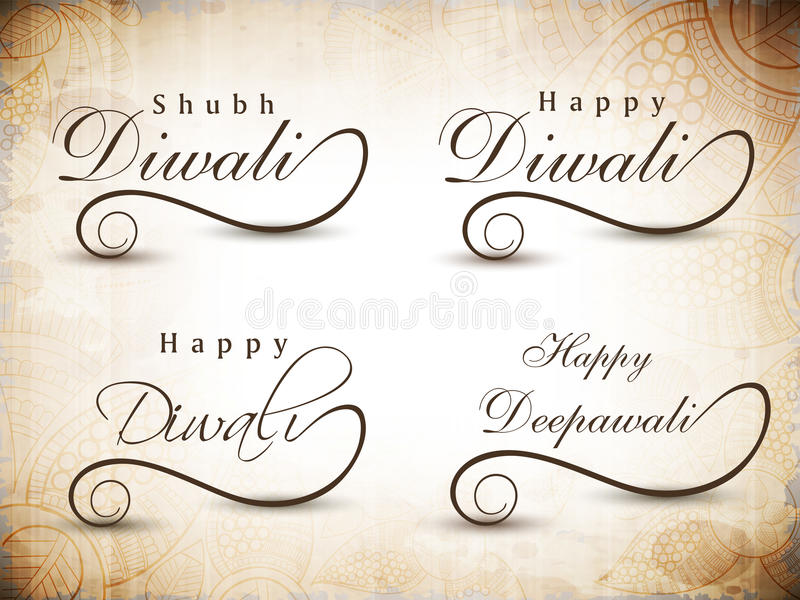 Download Stylized Typography Of Text Happy Diwali. Stock Illustration - Image: 26490420