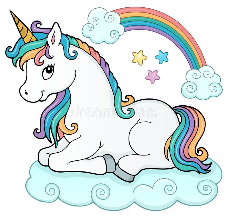 Stylized unicorn theme image 5 vector illustration