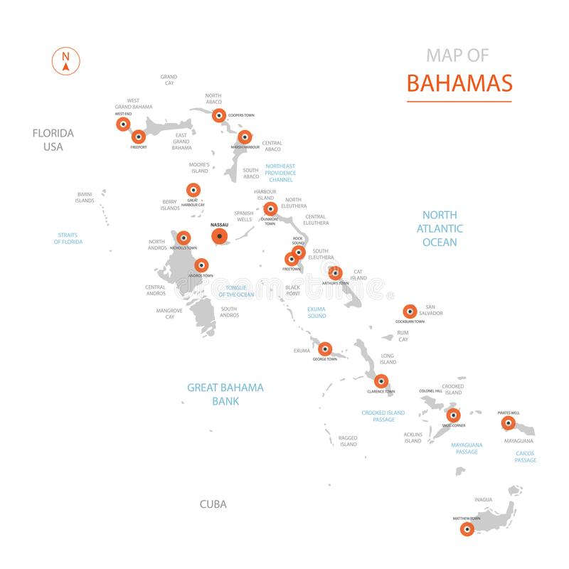 Bahamas map with administrative divisions. Stylized vector Bahamas map showing big cities, capital Nassau, administrative divisions stock illustration