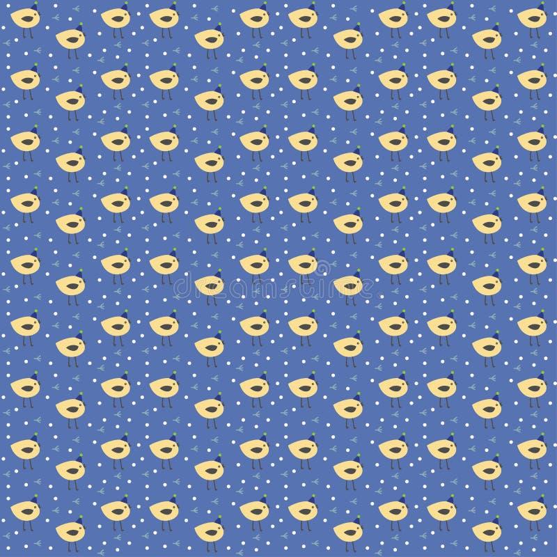 Stylized vector cute festive vector pattern many birds stock illustration