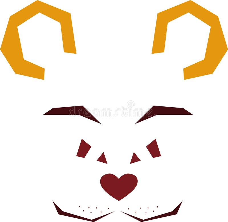 Stylized vector face of a wild bear royalty free illustration