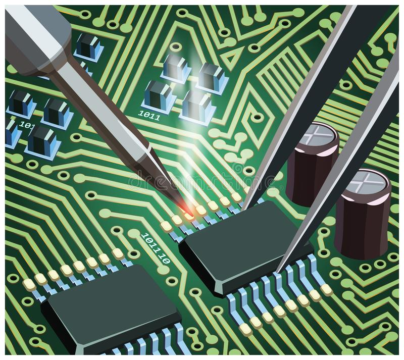 Soldering Computer Chip On The Board Close Up. Stylized vector illustration on the theme of circuit design, repair and upgrade of electronic components royalty free illustration